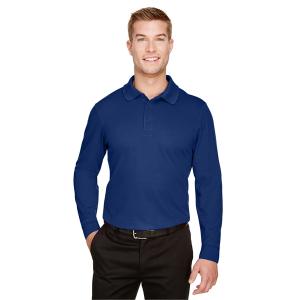 Devon & Jones CrownLux Performance™ Men's Plaited Long Sleeve Polo